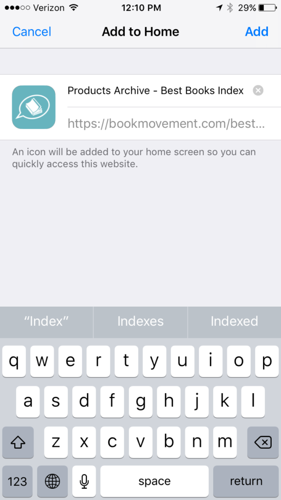 How to add the Best Books Index to your Home Screen